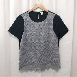 J. Crew gray lace front baseball style top S
